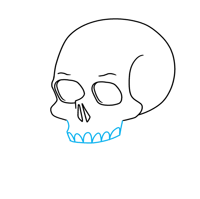 How to Draw Skull and Rose: Step 4