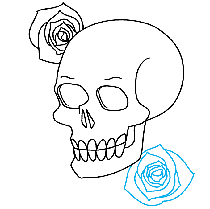 How to Draw Skull and Rose: Step 7