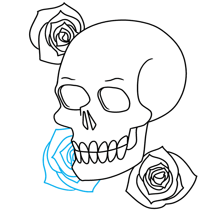 How to Draw Skull and Rose: Step 8