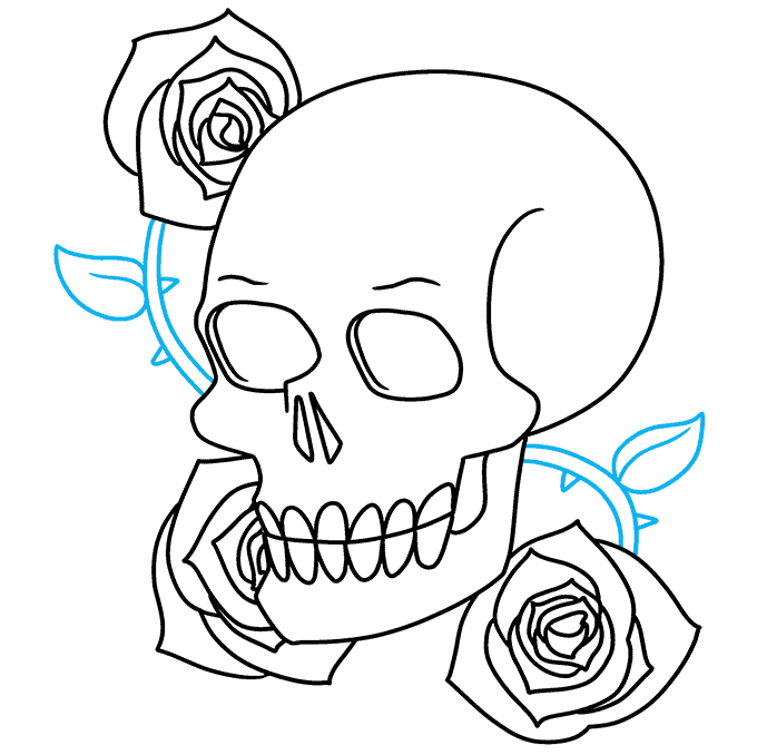 How to Draw Skull and Rose: Step 9