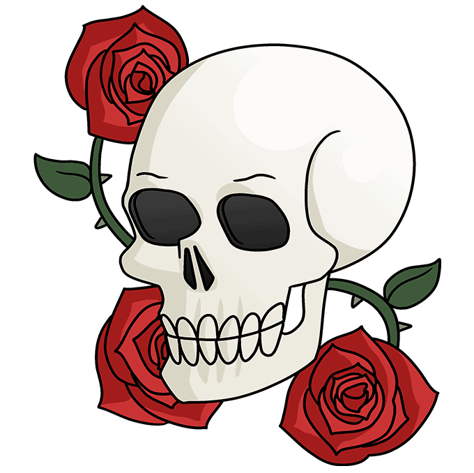 How to Draw a Skull and Rose Step 10