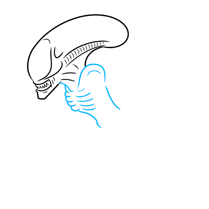 How to Draw a Xenomorph Alien Step 03
