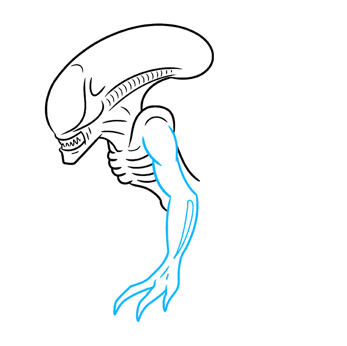 How to Draw a Xenomorph Alien Step 04