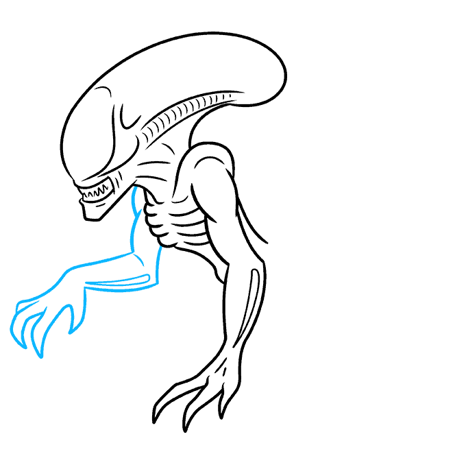 How to Draw a Xenomorph Alien Step 05