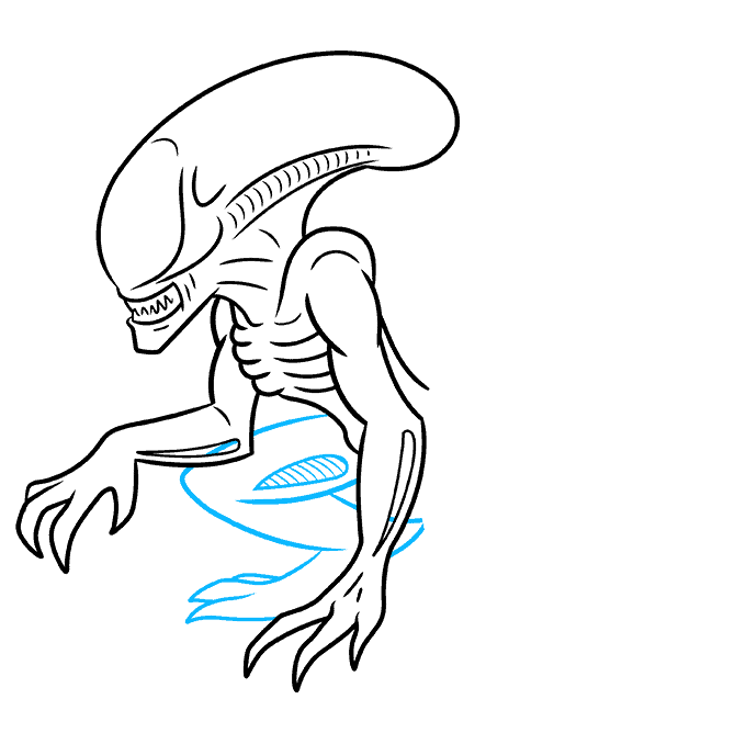How to Draw a Xenomorph Alien Step 06