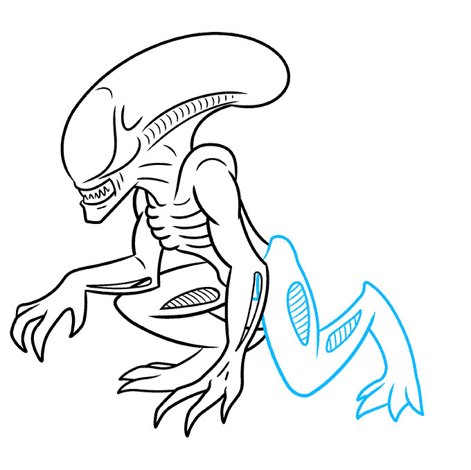 How to Draw a Xenomorph Alien Step 07