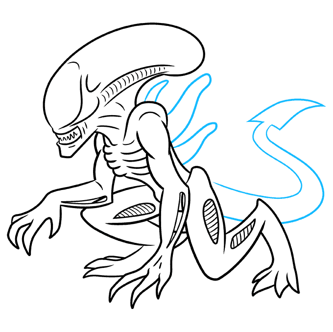 How to Draw a Xenomorph Alien Step 08