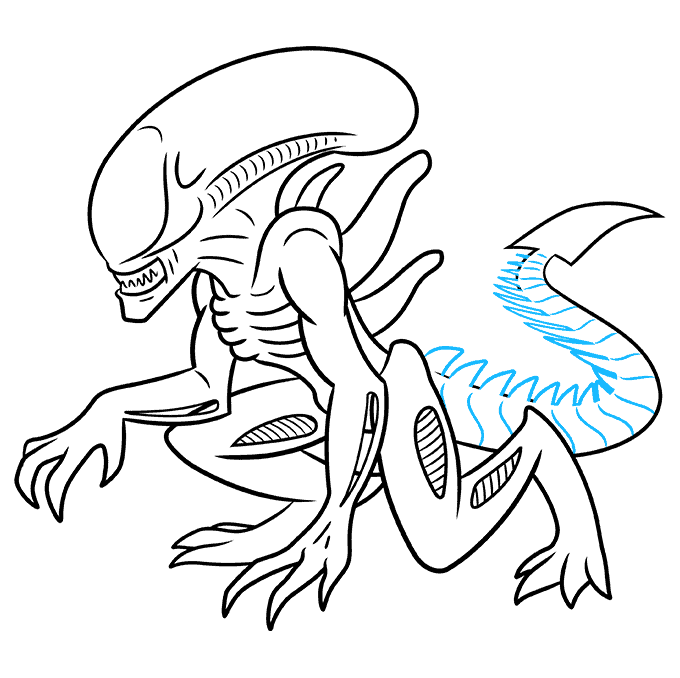 How to Draw a Xenomorph Alien Step 09