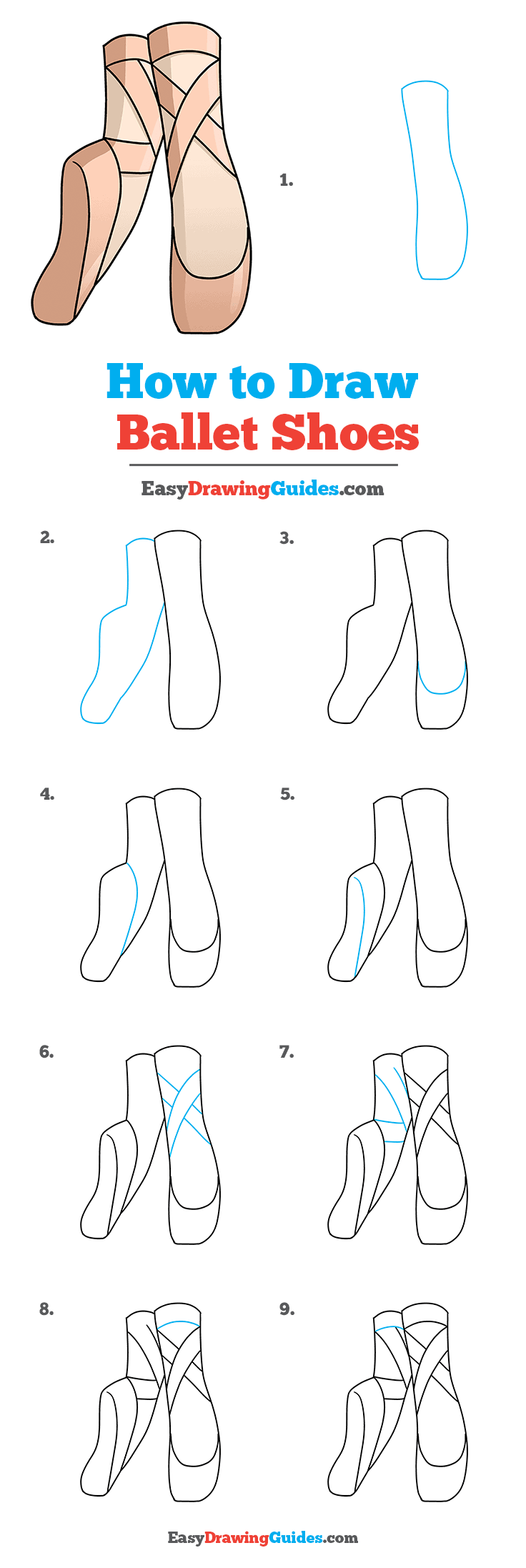 How To Draw Ballet Shoes Really Easy Drawing Tutorial