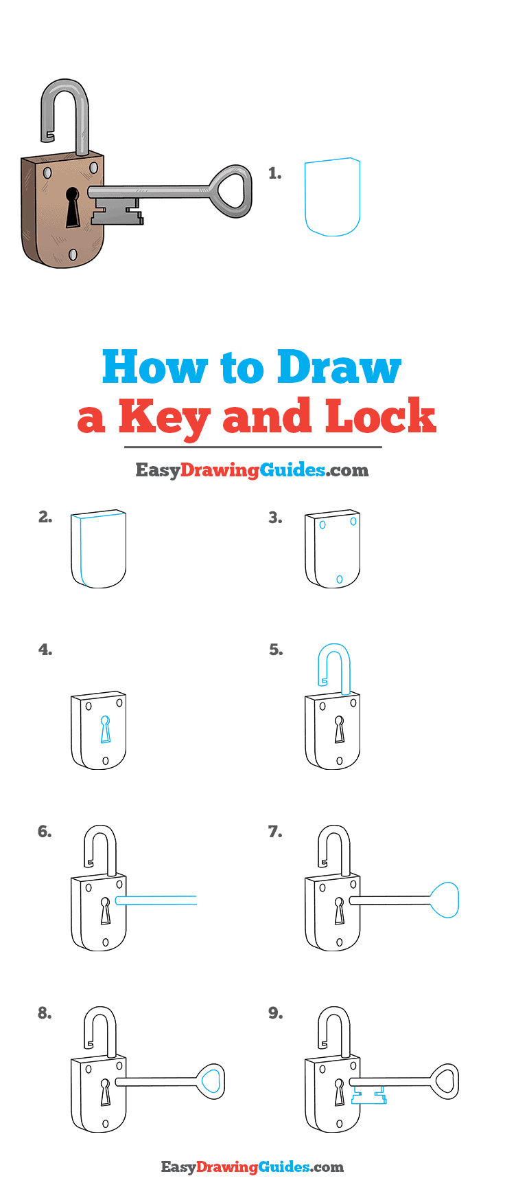 How to Draw Key and Lock