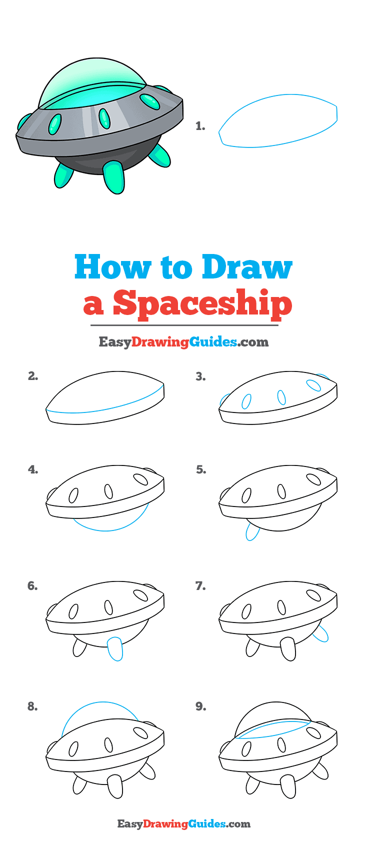 How to Draw a Spaceship Step by Step Tutorial Image