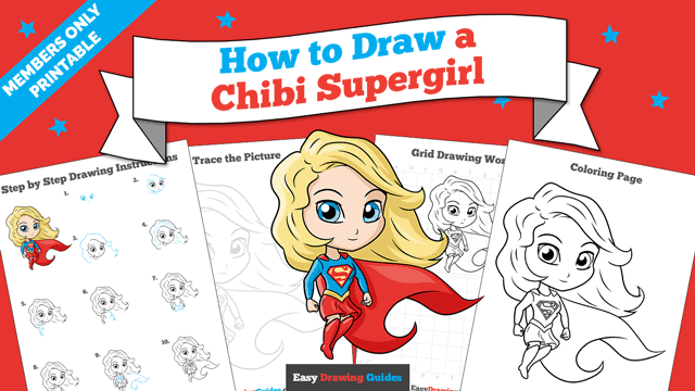 download a printable PDF of Chibi Supergirl drawing tutorial