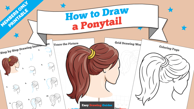download a printable PDF of Ponytail drawing tutorial
