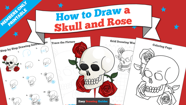 download a printable PDF of Skull and Rose drawing tutorial