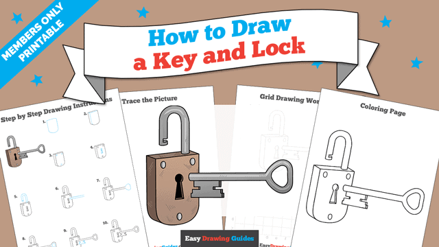 download a printable PDF of Key and Lock drawing tutorial