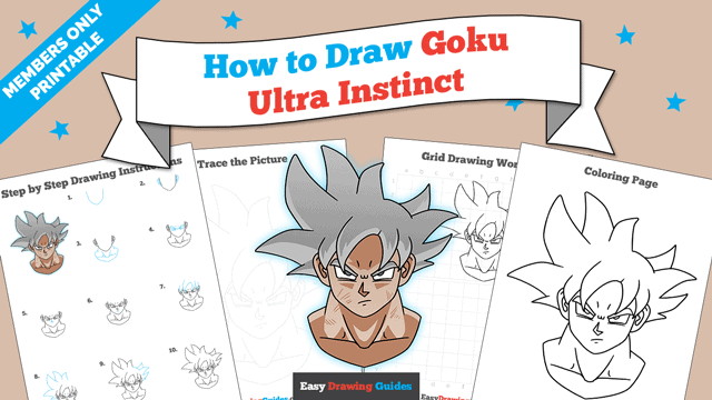 download a printable PDF of Goku Ultra Instinct drawing tutorial