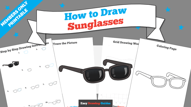 download a printable PDF of Sunglasses drawing tutorial
