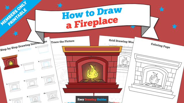 download a printable PDF of Fireplace drawing tutorial