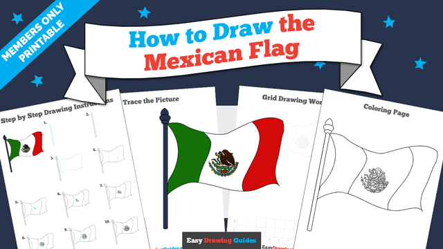 download a printable PDF of Mexican Flag drawing tutorial