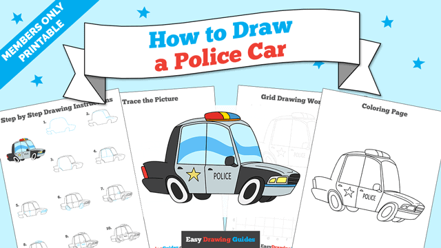 download a printable PDF of Police Car drawing tutorial