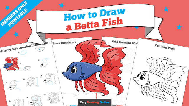 download a printable PDF of Betta Fish drawing tutorial