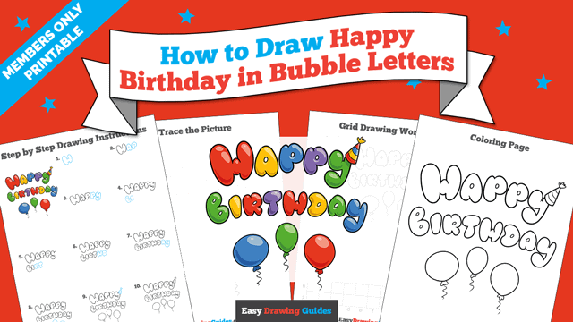 download a printable PDF of Happy Birthday in Bubble Letters drawing tutorial