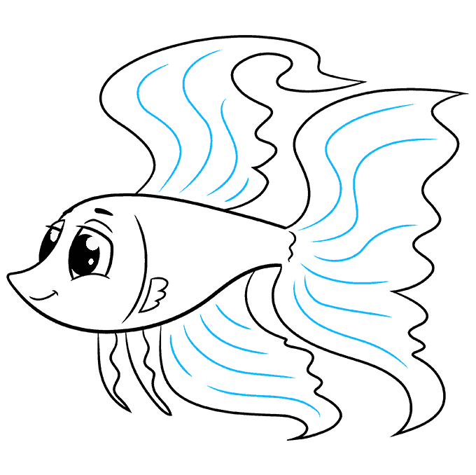 How to Draw a Betta Fish Step 09