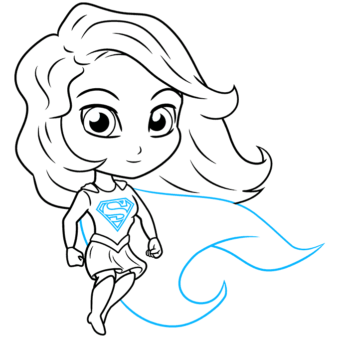 How to Draw Chibi Supergirl: Step 9