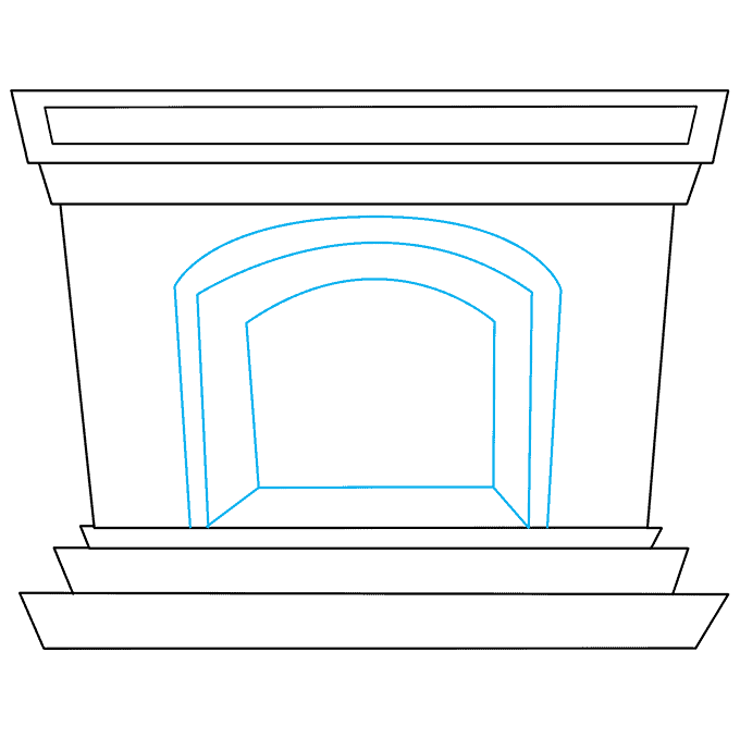 How to Draw Fireplace: Step 4
