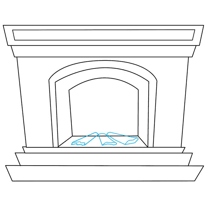 How to Draw Fireplace: Step 5
