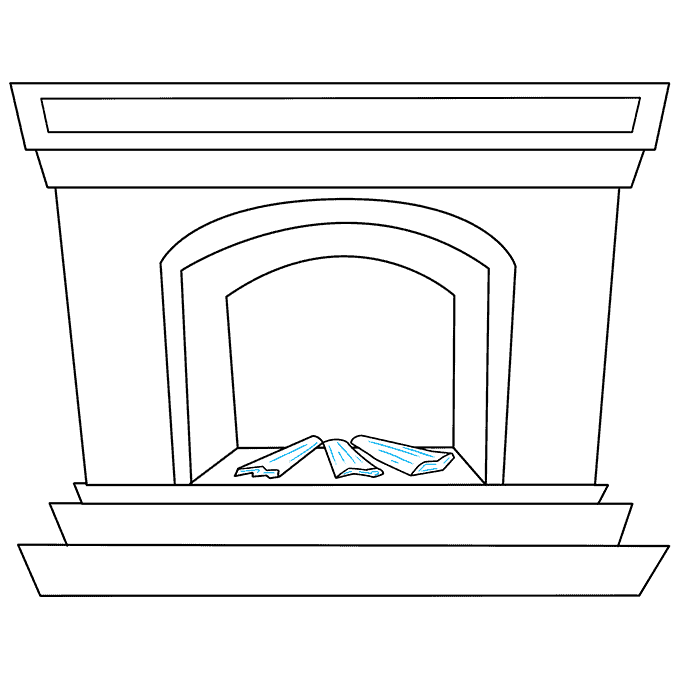 How to Draw Fireplace: Step 6