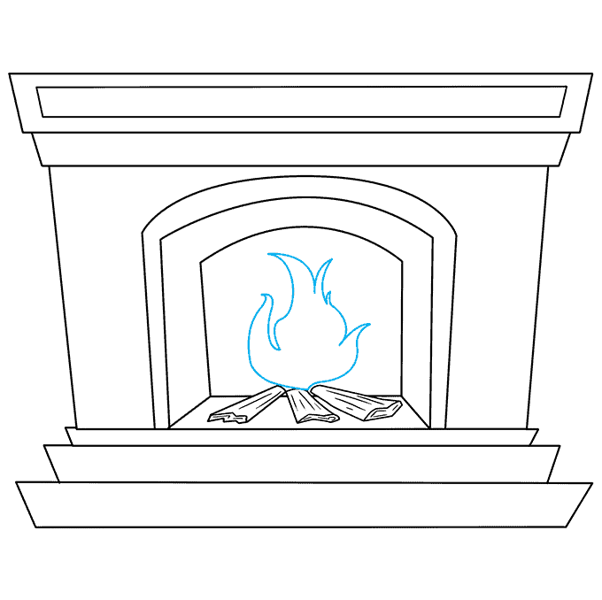 How to Draw Fireplace: Step 7