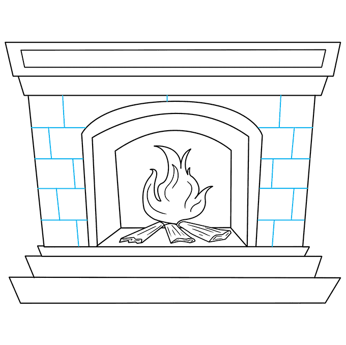 How to Draw Fireplace: Step 9