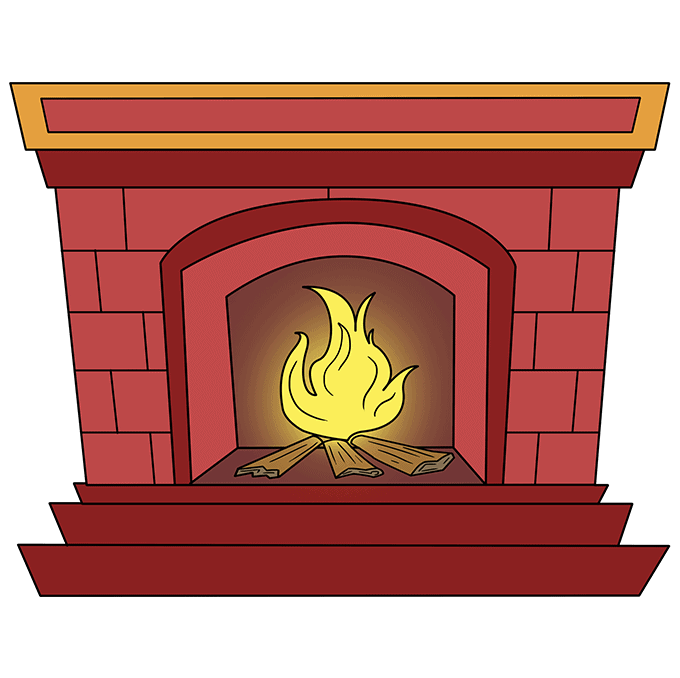 How to Draw Fireplace: Step 10