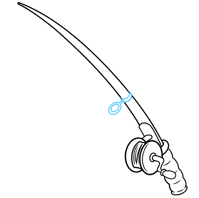 How to Draw a Fishing Pole Step 05