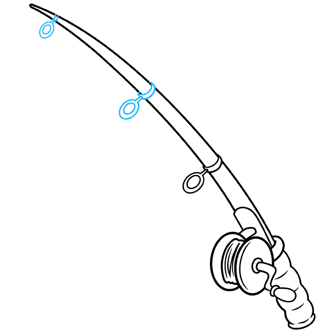 How to Draw a Fishing Pole Step 06