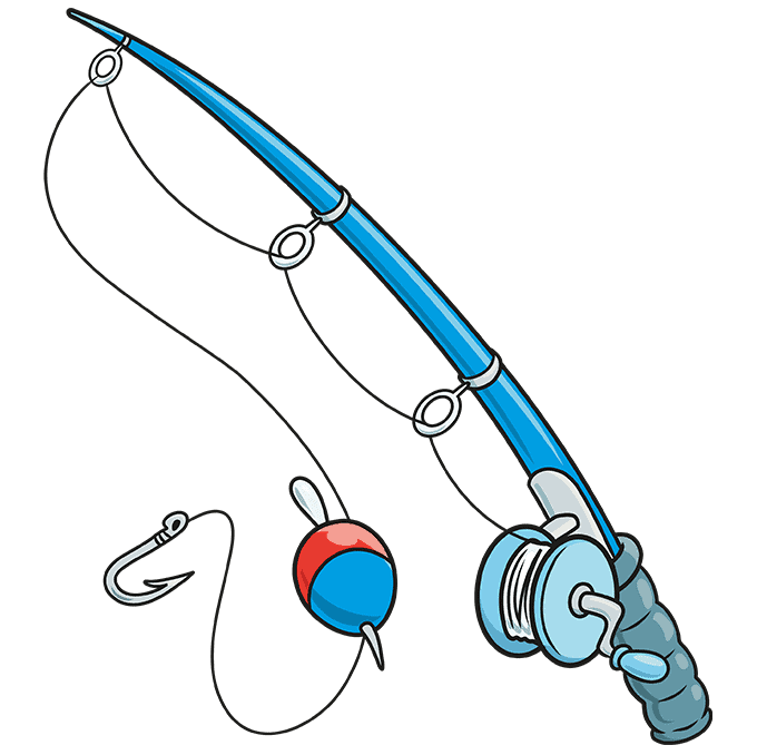 How to Draw Fishing Pole: Step 10