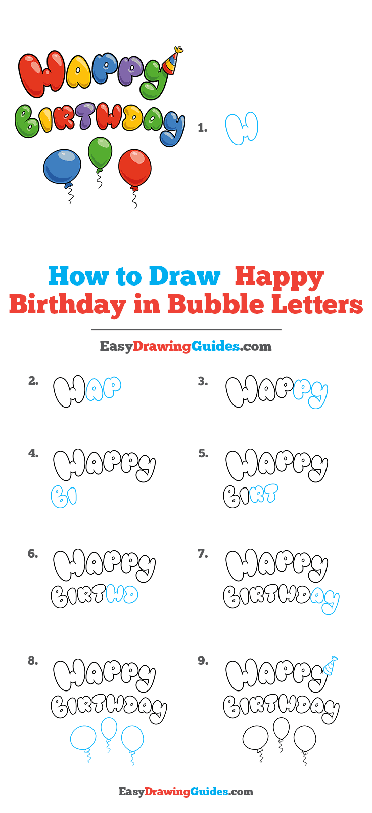 How to Draw Happy Birthday in Bubble Letters