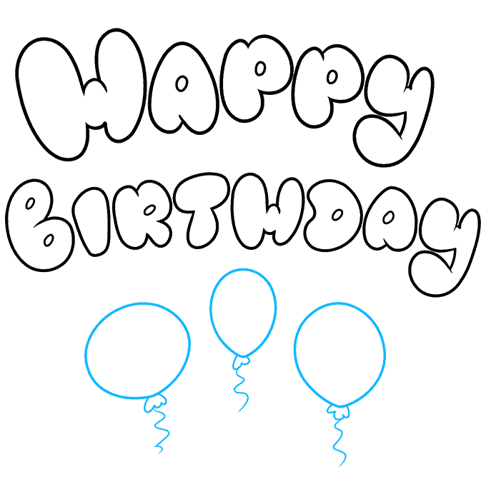 How to Draw Happy Birthday in Bubble Letters: Step 8