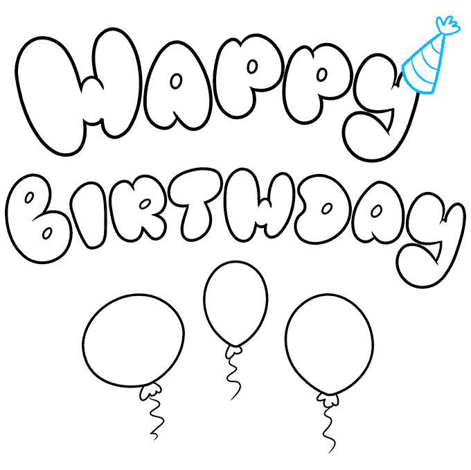 How to Draw Happy Birthday in Bubble Letters: Step 9