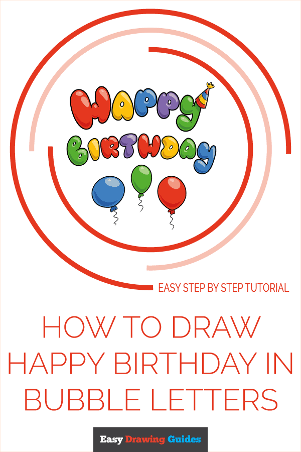 How to Draw Happy Birthday in Bubble Letters | Share to Pinterest