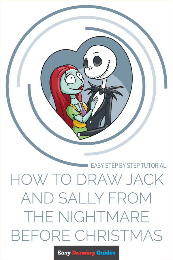 How to Draw Jack and Sally from the Nightmare before Christmas Pinterest Image