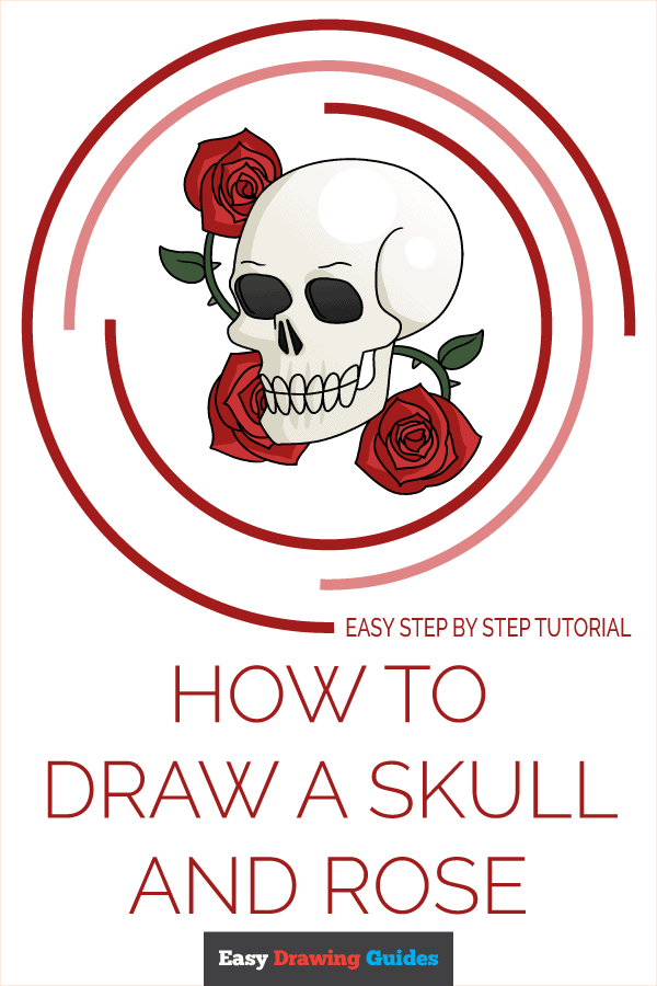 How to Draw a Skull and Rose Pinterest Image