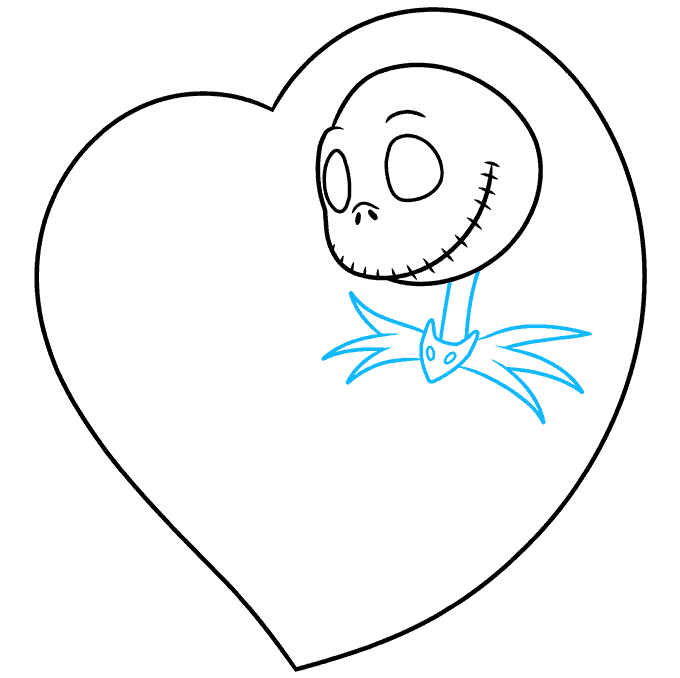 How to Draw Jack and Sally from the Nightmare before Christmas: Step 3