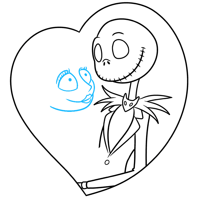 How to Draw Jack and Sally from the Nightmare before Christmas: Step 5