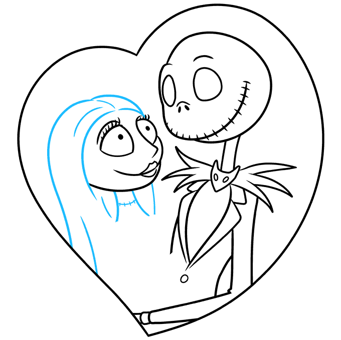 How to Draw Jack and Sally from the Nightmare before Christmas: Step 6