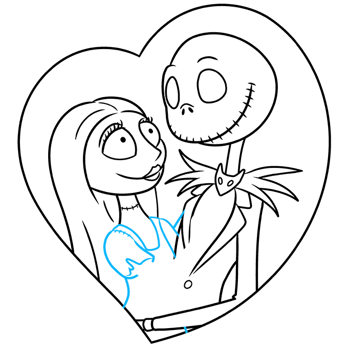 How to Draw Jack and Sally from the Nightmare before Christmas: Step 7