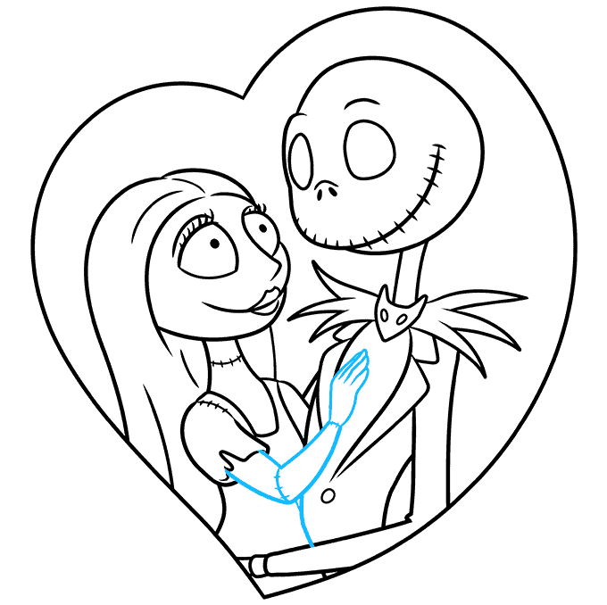 How to Draw Jack and Sally from the Nightmare before Christmas Step 08