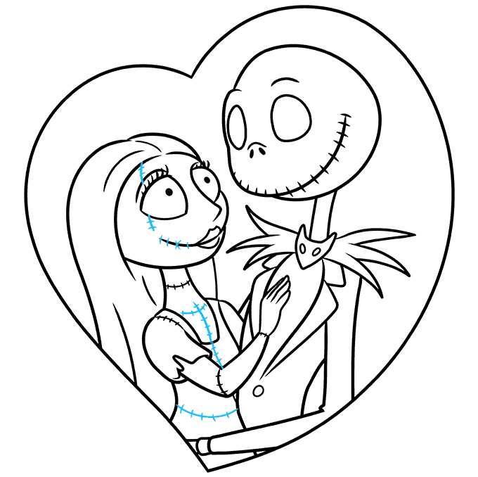 How to Draw Jack and Sally from the Nightmare before Christmas: Step 9