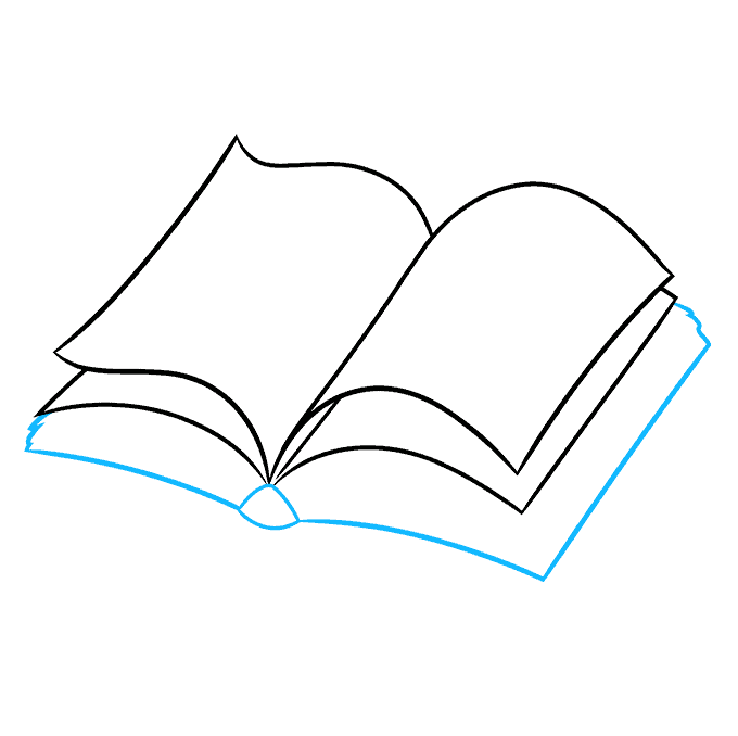 How to Draw Open Book: Step 4